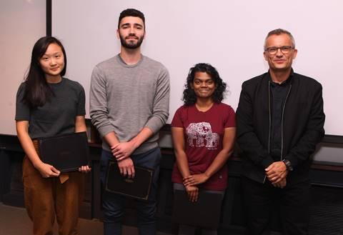 Award recipients: Kelly Huang, Cristian Lacey, Udari Madhushani, and Alex Glaser (DGS)