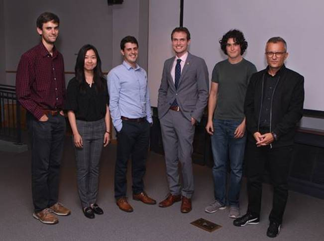 Research Day 2019: Matthew Heinrich, Estella Yu, Alex Novoselov, Adam Fisher, Sam Otto, Director of Graduate Studies, Alex Glaser